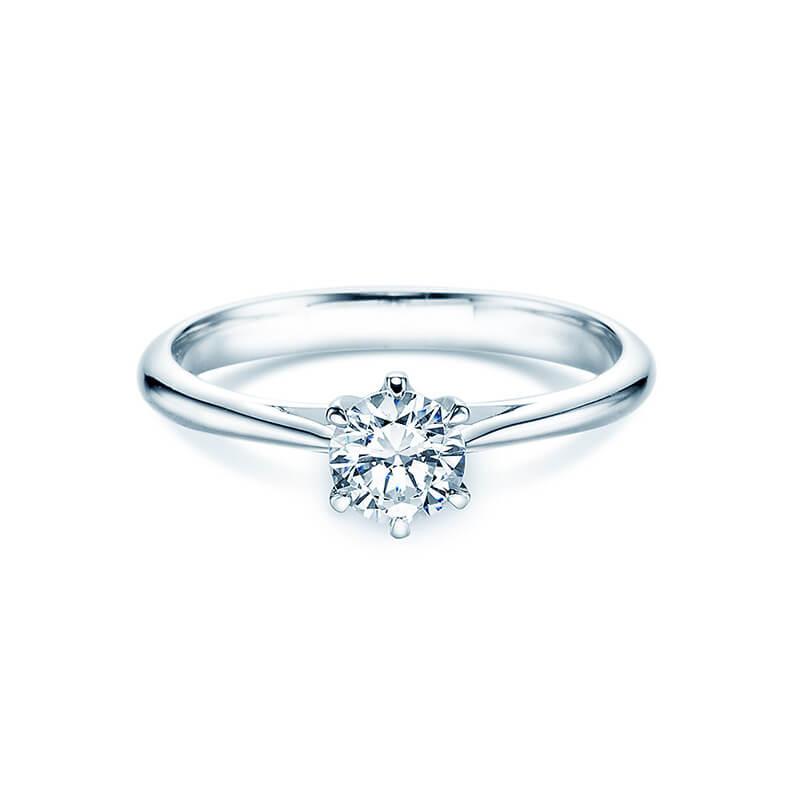 Klassischer Weißgold Verlobungsring mit GIA Brilliant - Rivoir