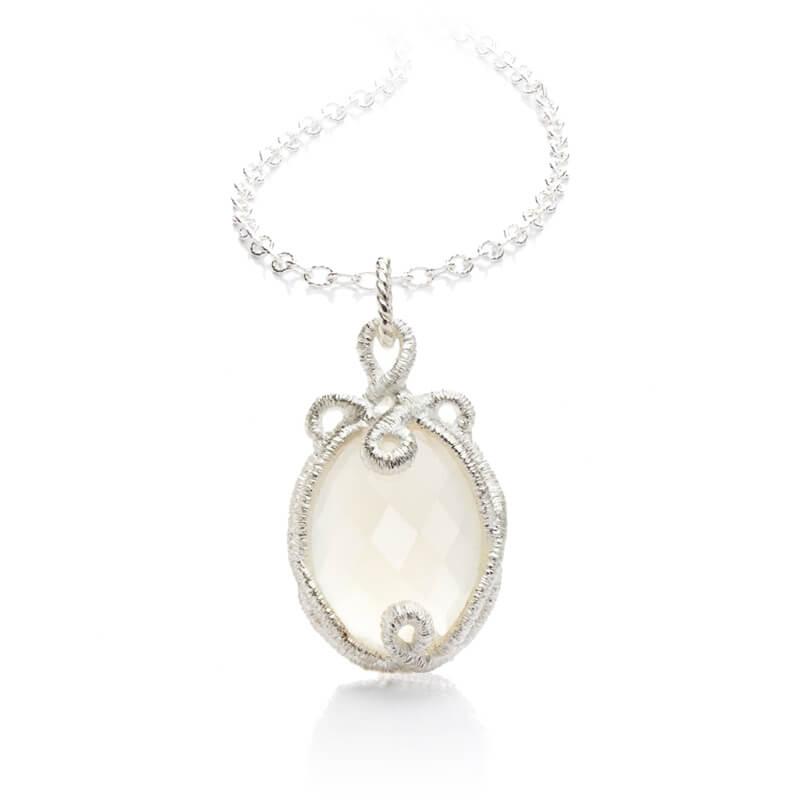 Brigitte Adolph Jewellery Design - Halskette mit Anhänger in Silber mit weißem Bergkristall