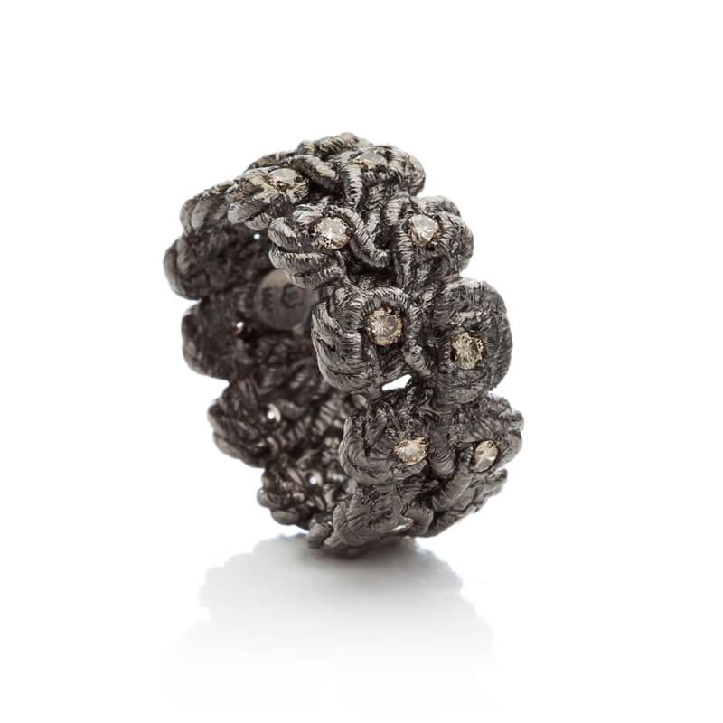 """Brigitte Adolph Design - Ring """"Tosca"""" in Silber schwarzrhodiniert mit Brillanten"""