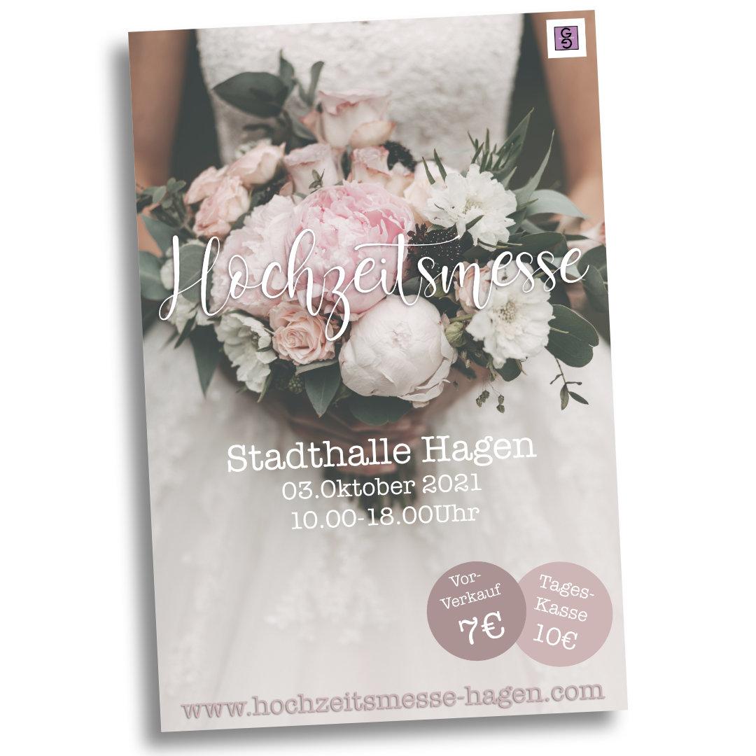 Plakat zur Hochzeitmesse in Hagen im Oktober 2021 - Stadthalle Hagen